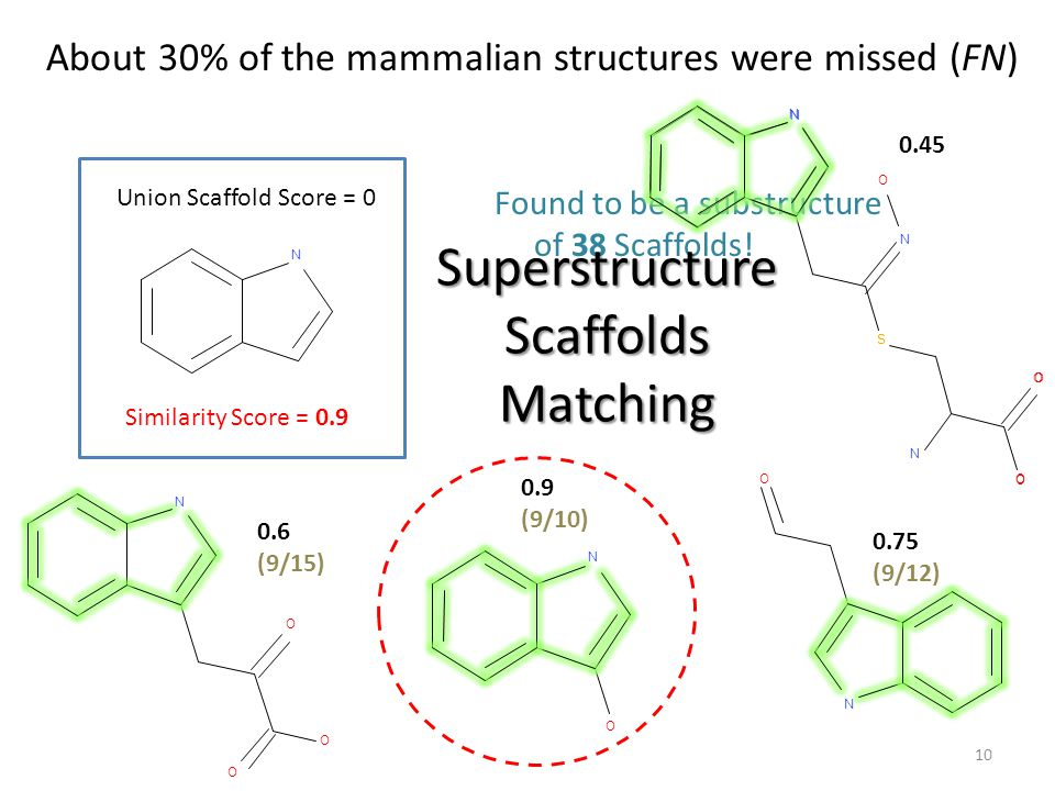 10 About 30% of the mammalian structures were missed (FN) N O O O N O N O N O O S N O N 0.9 (9/10) 0.45 0.75 (9/12) 0.6 (9/15) Found to be a substruct