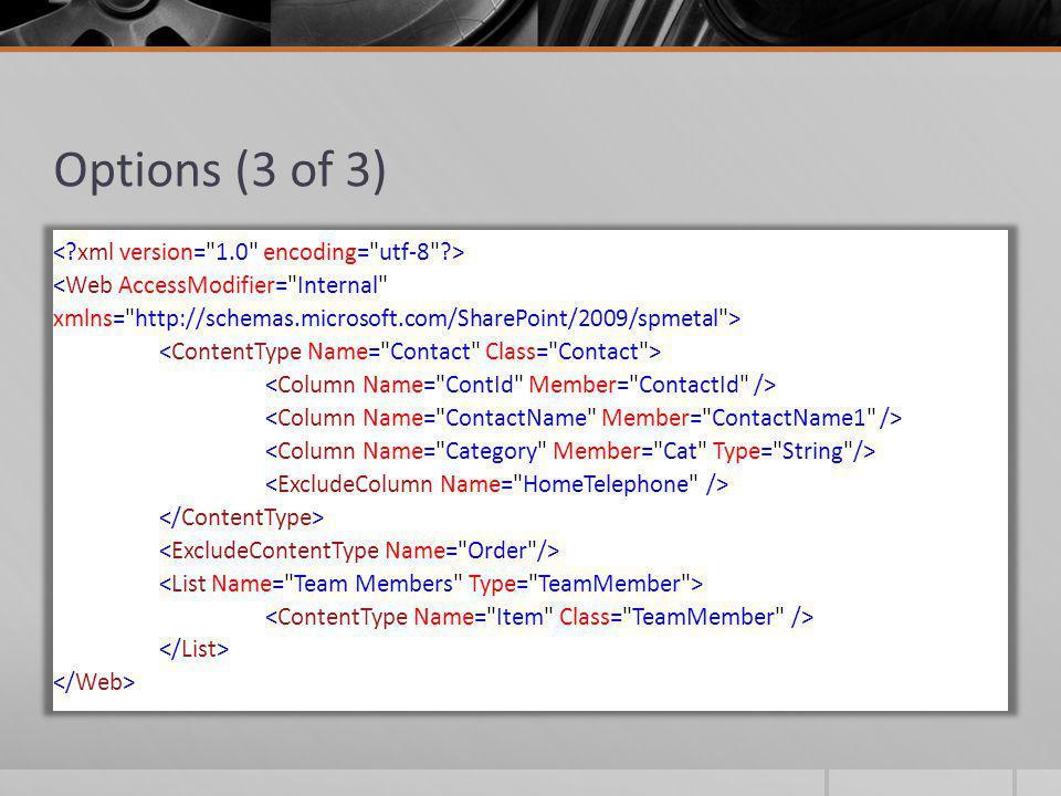 Logging using (var context = new Sp2010DataContext( http://sp2010 )) { var contextLog = new StringBuilder(); context.Log = new StringWriter(contextLog); Console.WriteLine(contextLog); } Use the DataContexts Log property to inspect underlying SPQueries