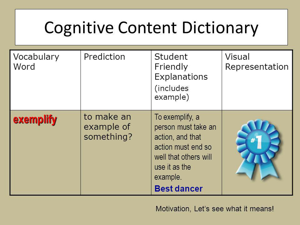 Cognitive Content Dictionary Vocabulary Word PredictionStudent Friendly Explanations (includes example) Visual Representation exemplify to make an example of something.