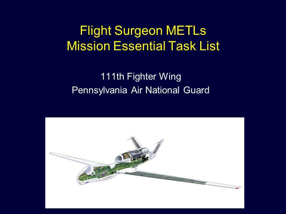 Flight Surgeon METLs Mission Essential Task List 111th Fighter Wing Pennsylvania Air National Guard