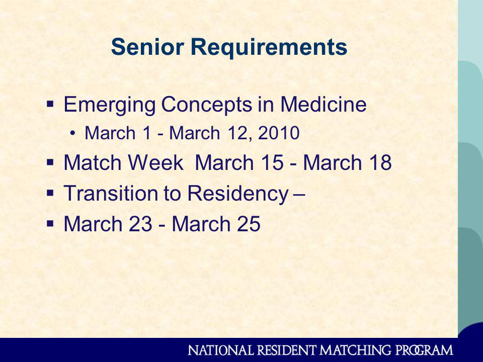 Senior Requirements Emerging Concepts in Medicine March 1 - March 12, 2010 Match Week March 15 - March 18 Transition to Residency – March 23 - March 25