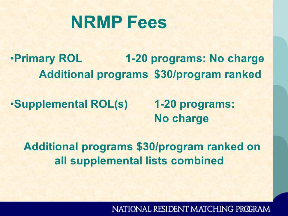 NRMP Fees Primary ROL 1-20 programs: No charge Additional programs$30/program ranked Supplemental ROL(s)1-20 programs: No charge Additional programs $30/program ranked on all supplemental lists combined