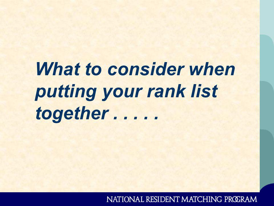What to consider when putting your rank list together.....