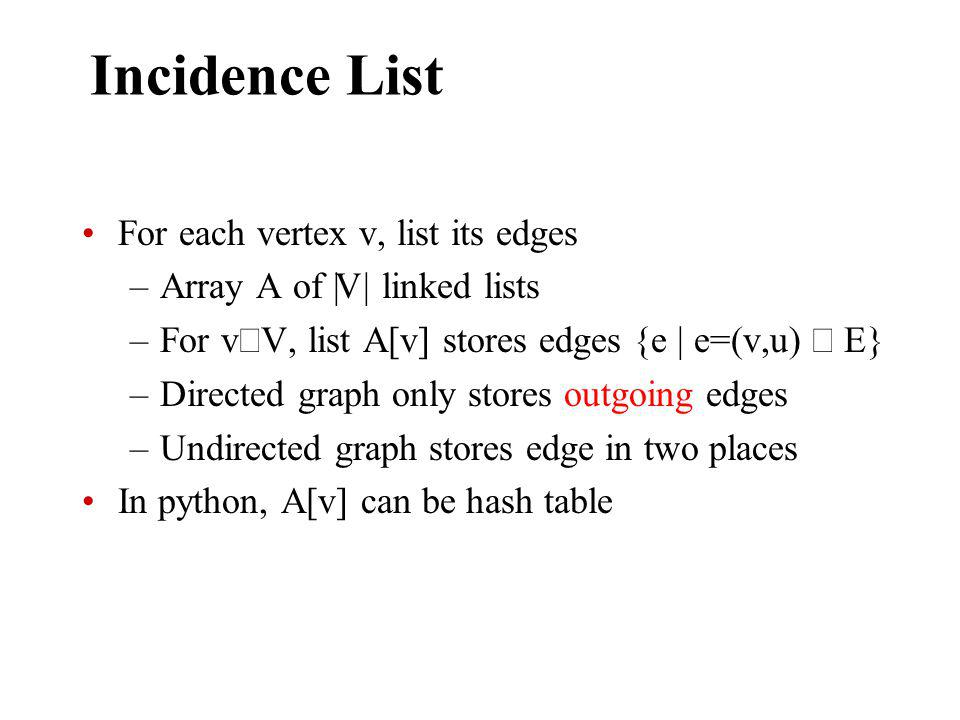 Incidence List For each vertex v, list its edges –Array A of || V || linked lists –For v V, list A[v] stores edges {e | e=(v,u) E} –Directed graph only stores outgoing edges –Undirected graph stores edge in two places In python, A[v] can be hash table