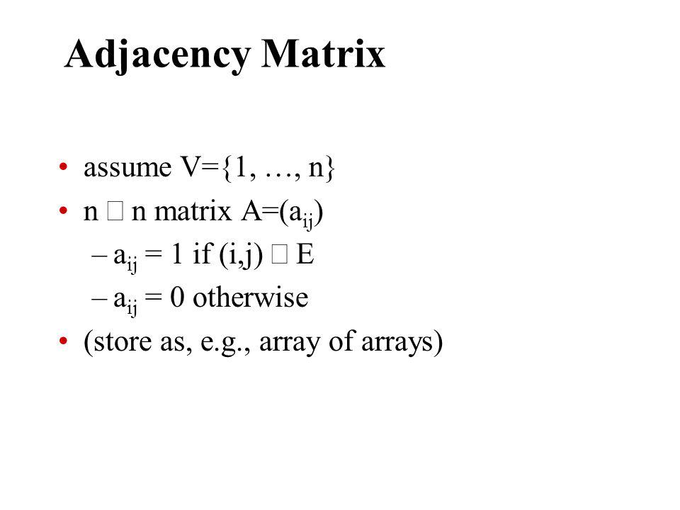Adjacency Matrix assume V={1, …, n} n n matrix A=(a ij ) –a ij = 1 if (i,j) E –a ij = 0 otherwise (store as, e.g., array of arrays)