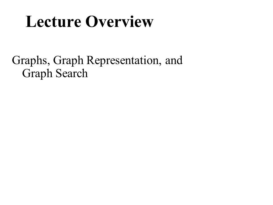 Lecture Overview Graphs, Graph Representation, and Graph Search