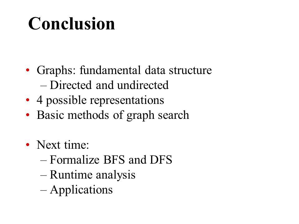 Conclusion Graphs: fundamental data structure –Directed and undirected 4 possible representations Basic methods of graph search Next time: –Formalize BFS and DFS –Runtime analysis –Applications
