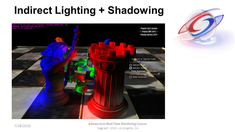 Indirect Lighting + Shadowing 7/28/2010 Advances in Real-Time Rendering Course Siggraph 2010, Los Angeles, CA