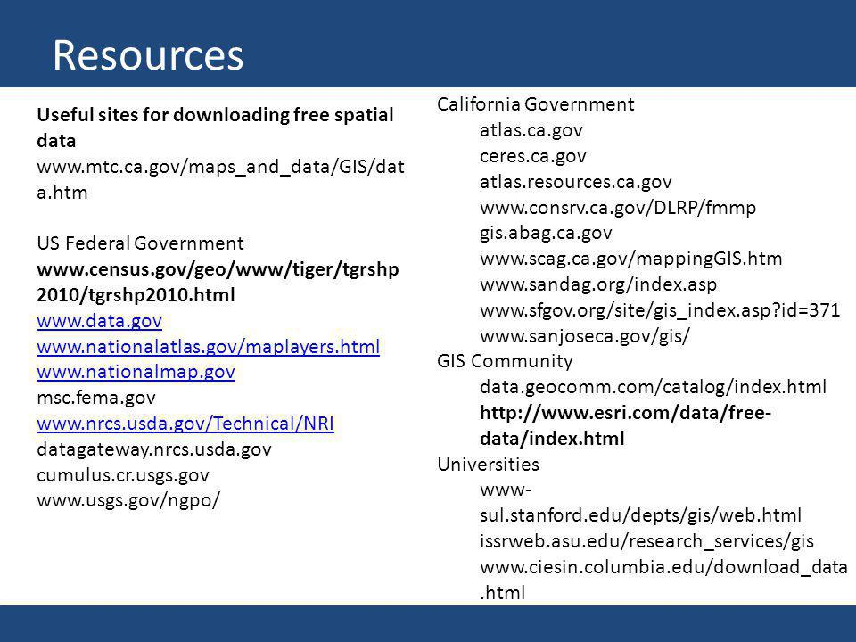 Resources Useful sites for downloading free spatial data www.mtc.ca.gov/maps_and_data/GIS/dat a.htm US Federal Government www.census.gov/geo/www/tiger