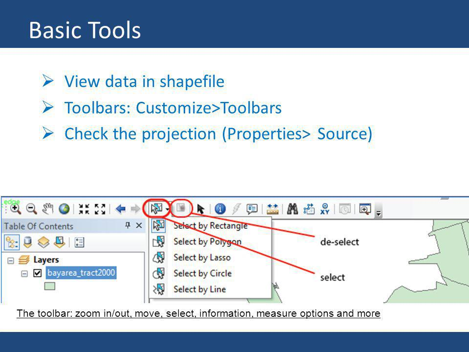 Basic Tools View data in shapefile Toolbars: Customize>Toolbars Check the projection (Properties> Source) The toolbar: zoom in/out, move, select, info