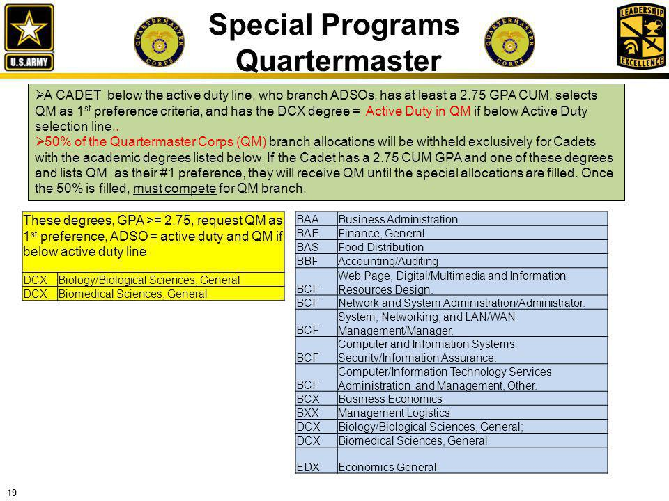 19 Special Programs Quartermaster A CADET below the active duty line, who branch ADSOs, has at least a 2.75 GPA CUM, selects QM as 1 st preference cri
