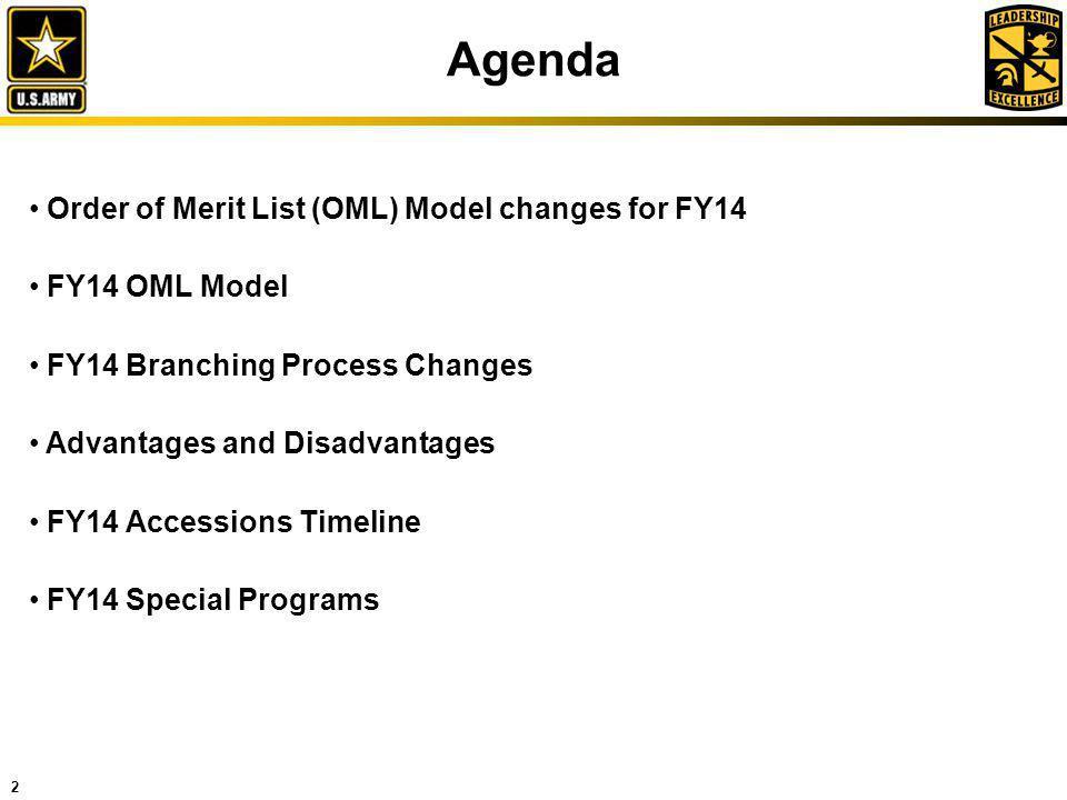 2 Agenda Order of Merit List (OML) Model changes for FY14 FY14 OML Model FY14 Branching Process Changes Advantages and Disadvantages FY14 Accessions T
