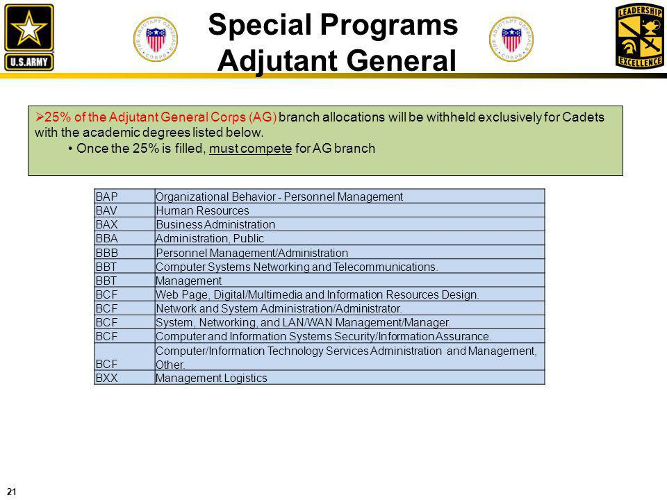 21 Special Programs Adjutant General 25% of the Adjutant General Corps (AG) branch allocations will be withheld exclusively for Cadets with the academ