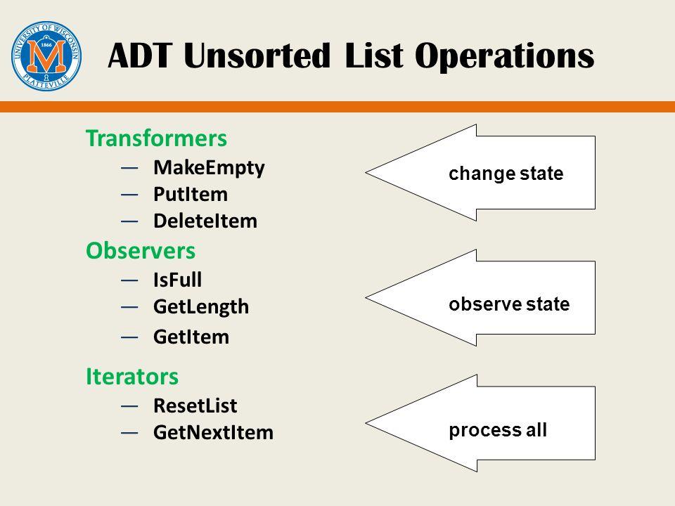 ADT Unsorted List Operations Transformers MakeEmpty PutItem DeleteItem Observers IsFull GetLength GetItem Iterators ResetList GetNextItem change state