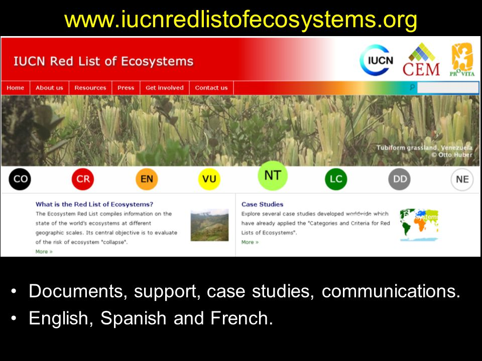 www.iucnredlistofecosystems.org Documents, support, case studies, communications.