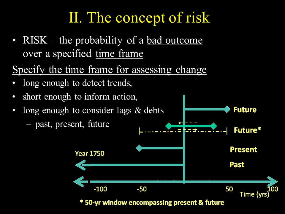RISK – the probability of a bad outcome over a specified time frame Specify the time frame for assessing change II.