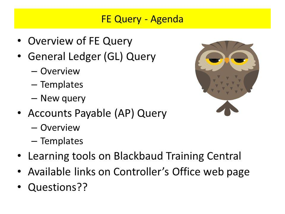 FE Query – AP Query - Overview Query Tabs – Criteria - Select fields and operators that determine which records appear in the query results.