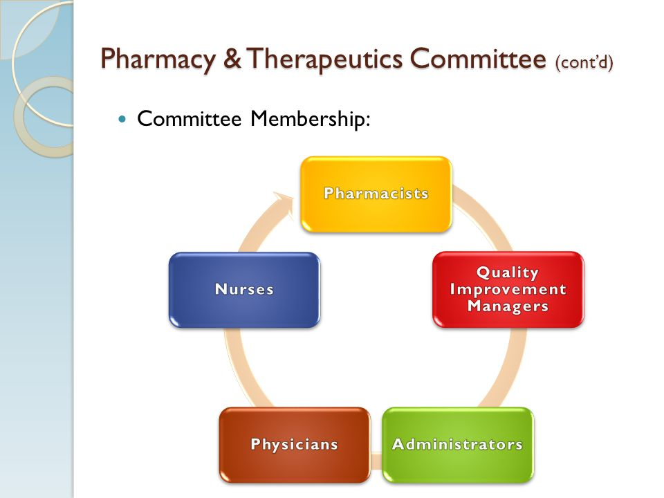 Pharmacy & Therapeutics Committee (contd) Committee Membership: