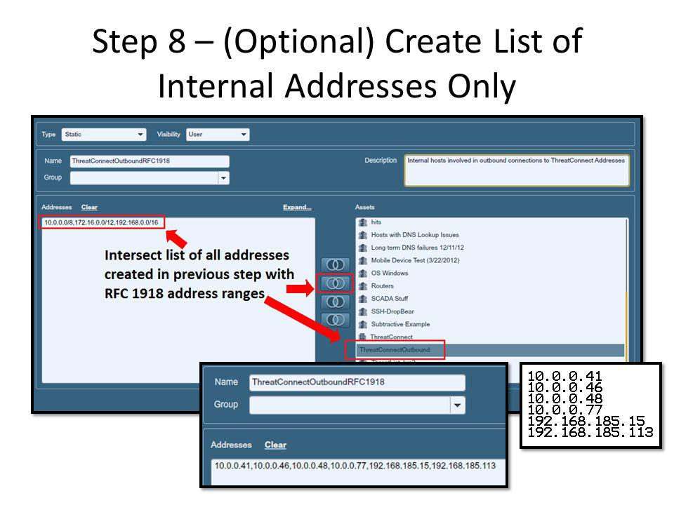 Step 8 – (Optional) Create List of Internal Addresses Only