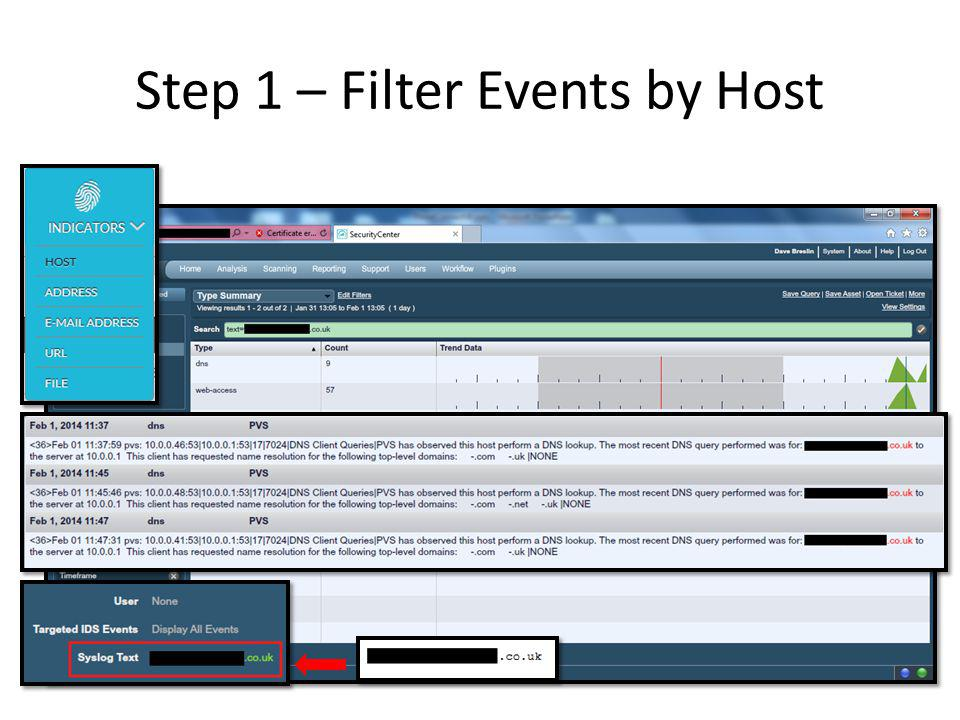 Step 1 – Filter Events by Host