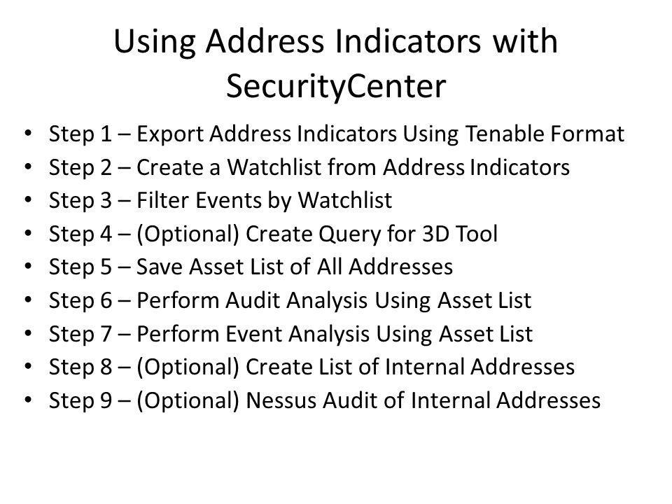 Step 1 – Export Address Indicators Using Tenable Format