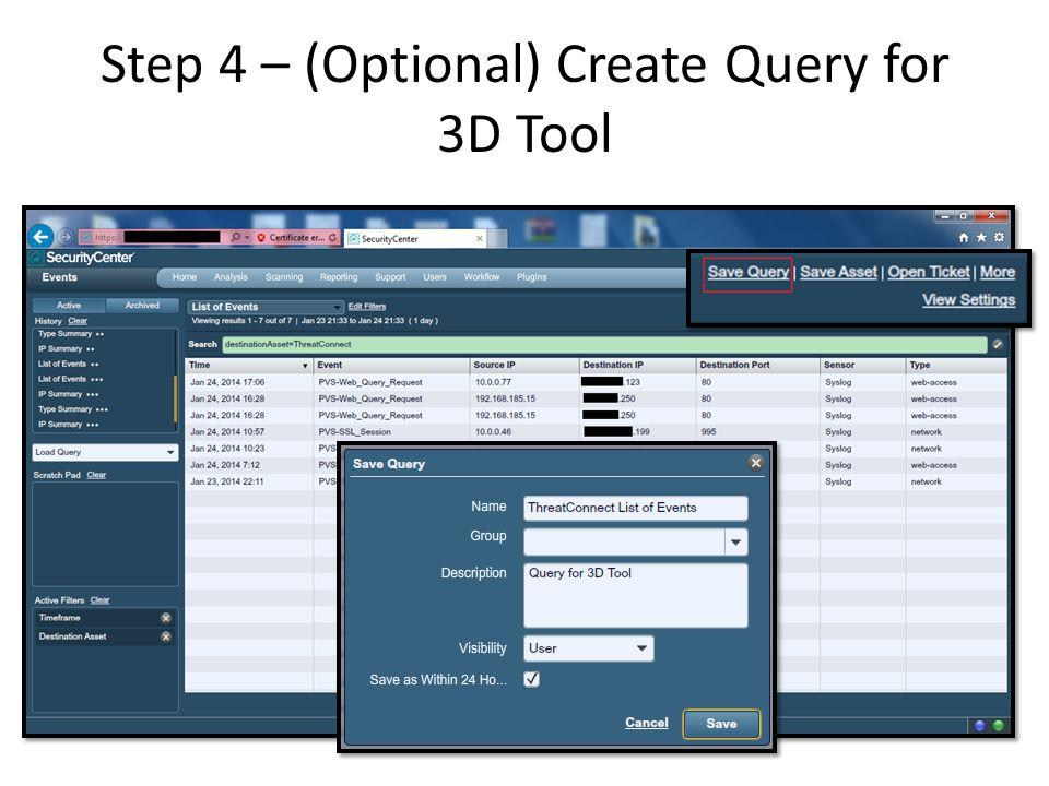 Step 4 – (Optional) Create Query for 3D Tool
