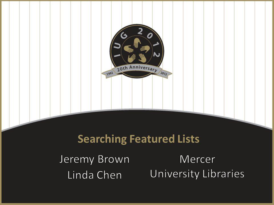 Searching Featured Lists