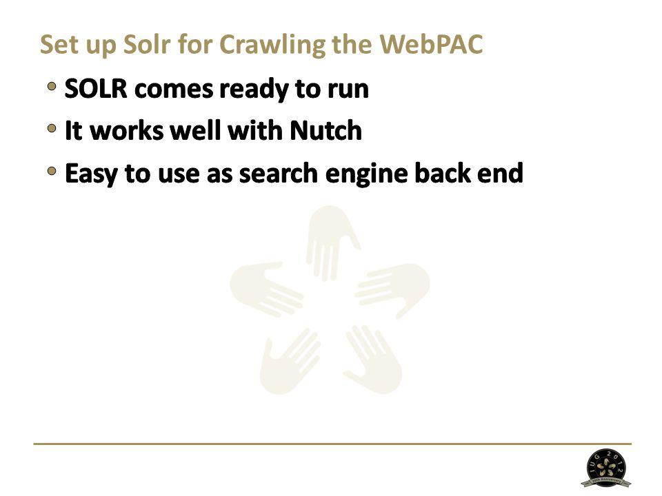 Set up Solr for Crawling the WebPAC