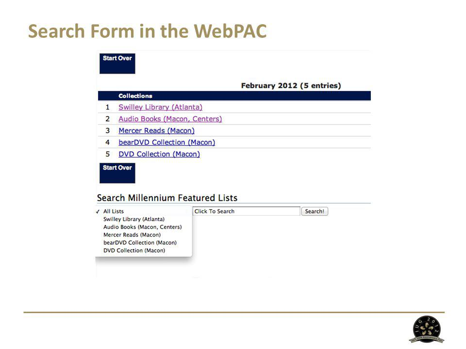 Search Form in the WebPAC
