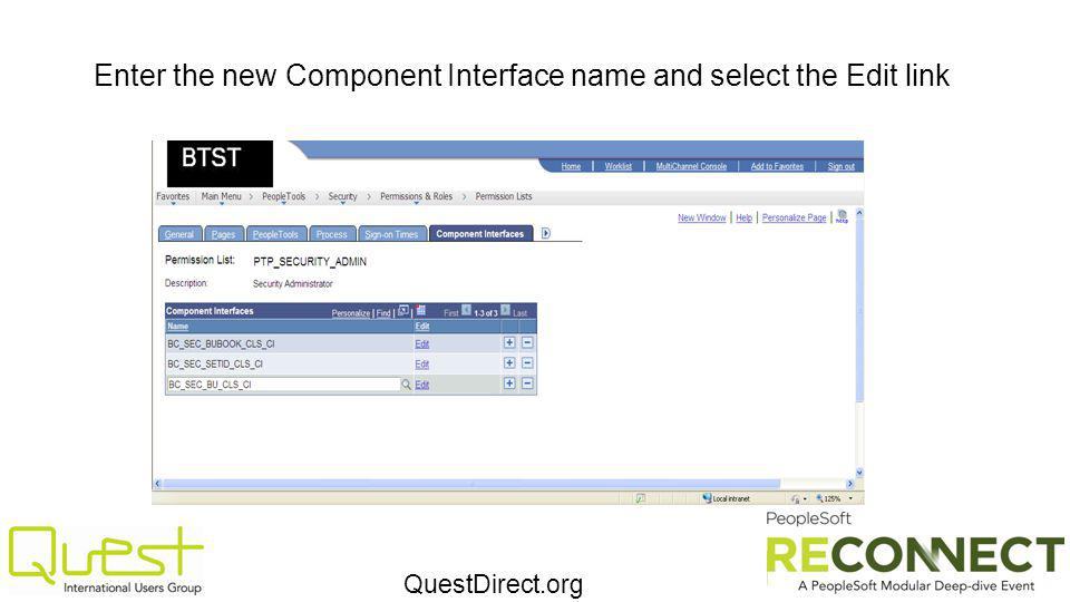 QuestDirect.org Enter the new Component Interface name and select the Edit link