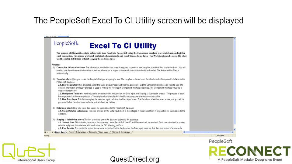 QuestDirect.org The PeopleSoft Excel To CI Utility screen will be displayed