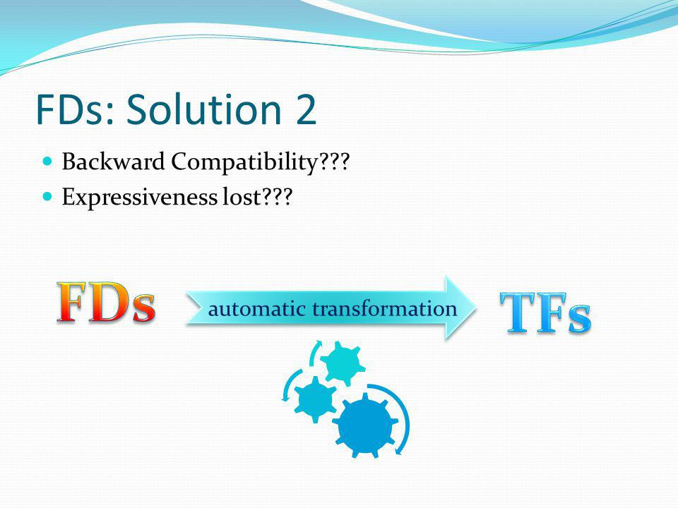FDs: Solution 2 Backward Compatibility Expressiveness lost automatic transformation