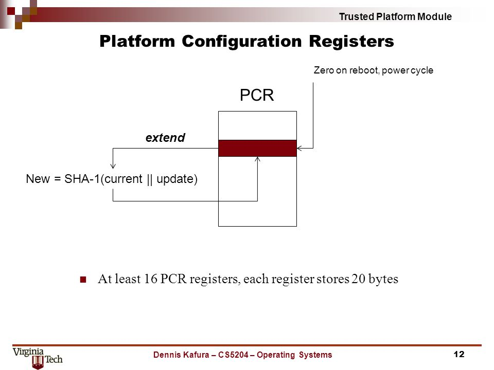 Trusted Platform Module Platform Configuration Registers At least 16 PCR registers, each register stores 20 bytes Dennis Kafura – CS5204 – Operating S