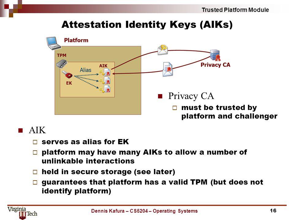Trusted Platform Module Attestation Identity Keys (AIKs) AIK serves as alias for EK platform may have many AIKs to allow a number of unlinkable intera