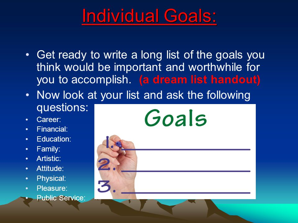 Belief *Activity (handout): The I can/cant funeral - You know your funeral is going to be on --/-- /2011 You have one year left Write down the things you accomplished Write down the things have not accomplished but wish you would have With only one year left what are your goals and how can you accomplish them?.