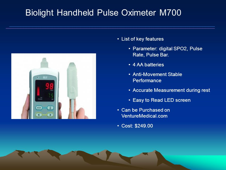 Mars Proximity Microtransceiver Biolight Handheld Pulse Oximeter M700 List of key features Parameter: digital SPO2, Pulse Rate, Pulse Bar.
