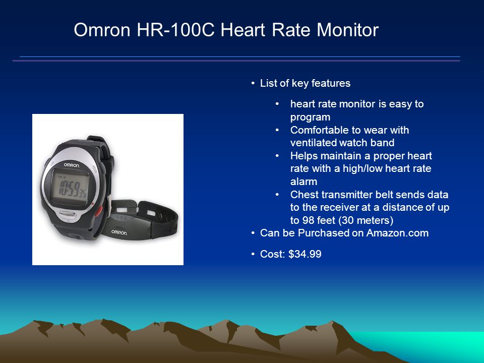 Mars Proximity Microtransceiver Omron HR-100C Heart Rate Monitor List of key features heart rate monitor is easy to program Comfortable to wear with ventilated watch band Helps maintain a proper heart rate with a high/low heart rate alarm Chest transmitter belt sends data to the receiver at a distance of up to 98 feet (30 meters) Can be Purchased on Amazon.com Cost: $34.99