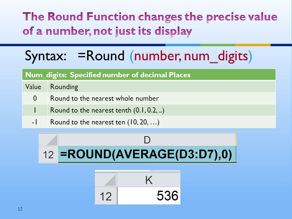 Syntax: =Round (number, num_digits) Num_digits: Specified number of decimal Places ValueRounding 0Round to the nearest whole number 1Round to the nearest tenth (0.1, 0.2,..) Round to the nearest ten (10, 20, …) 12