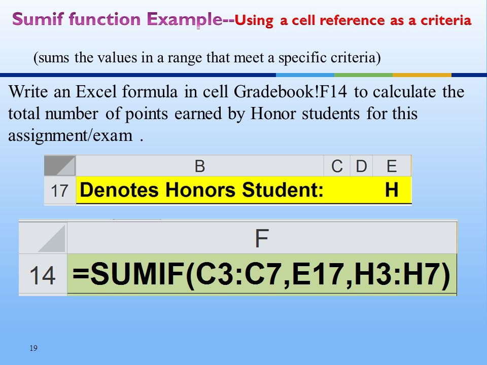 Write an Excel formula in cell Gradebook!F14 to calculate the total number of points earned by Honor students for this assignment/exam.