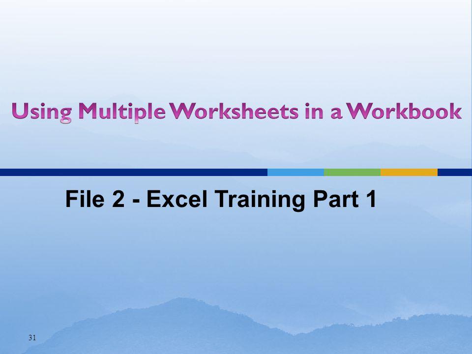 31 File 2 - Excel Training Part 1