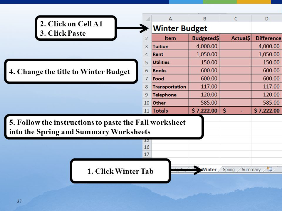 37 2. Click on Cell A1 3. Click Paste 4. Change the title to Winter Budget 1.