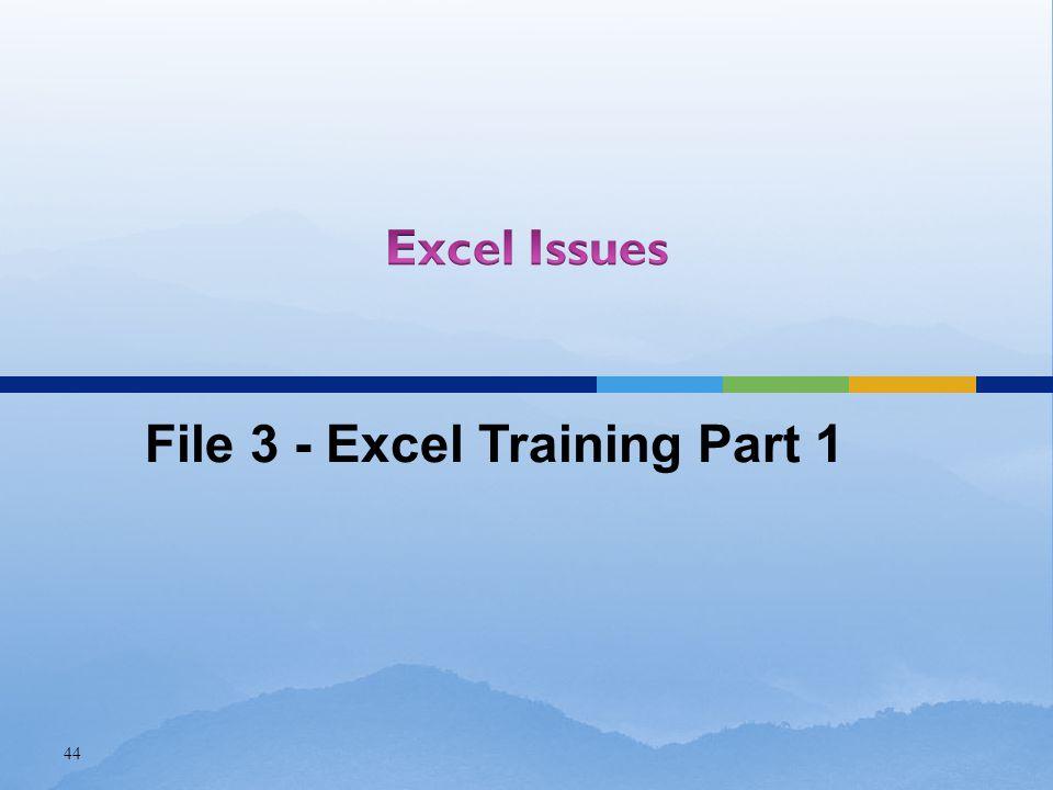 44 File 3 - Excel Training Part 1