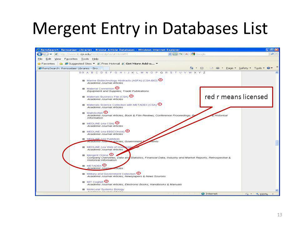 Mergent Entry in Databases List 13 red r means licensed