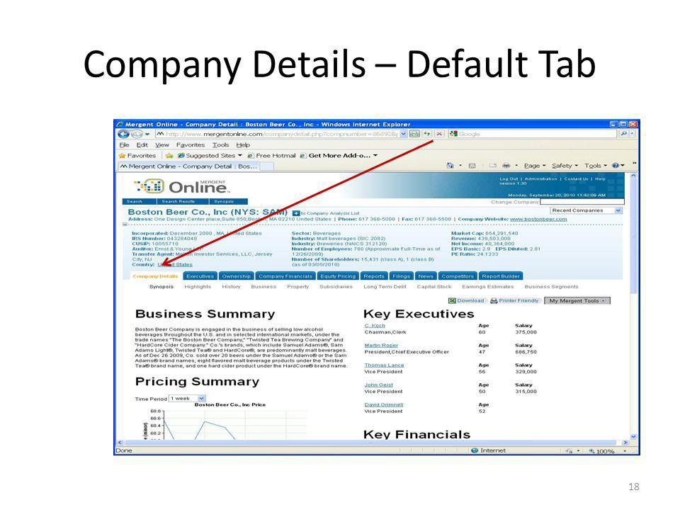 Company Details – Default Tab 18