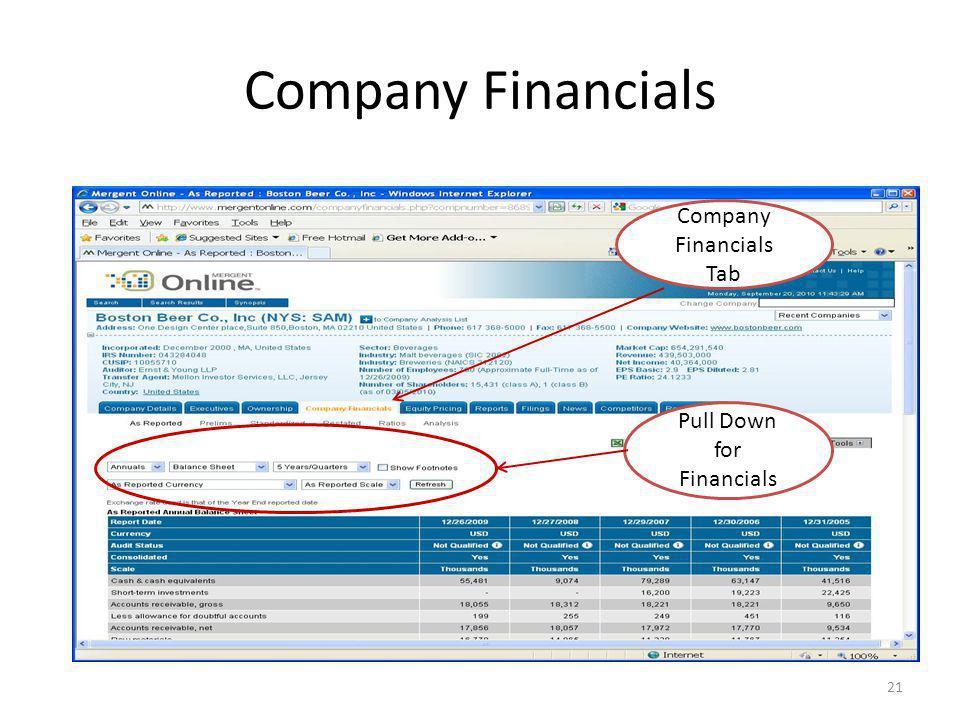 Company Financials 21 Company Financials Tab Pull Down for Financials