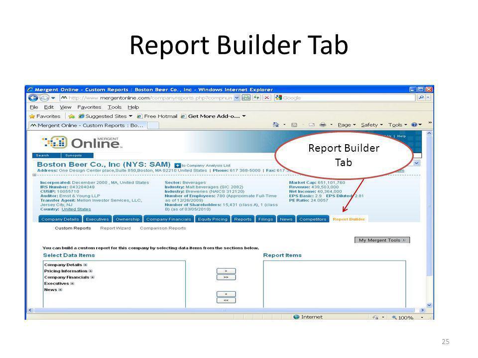 Report Builder Tab 25 Report Builder Tab
