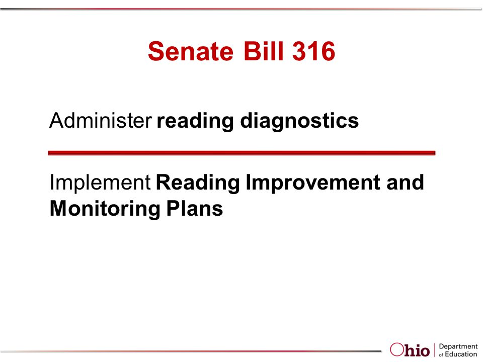 Senate Bill 316 Administer reading diagnostics Implement Reading Improvement and Monitoring Plans