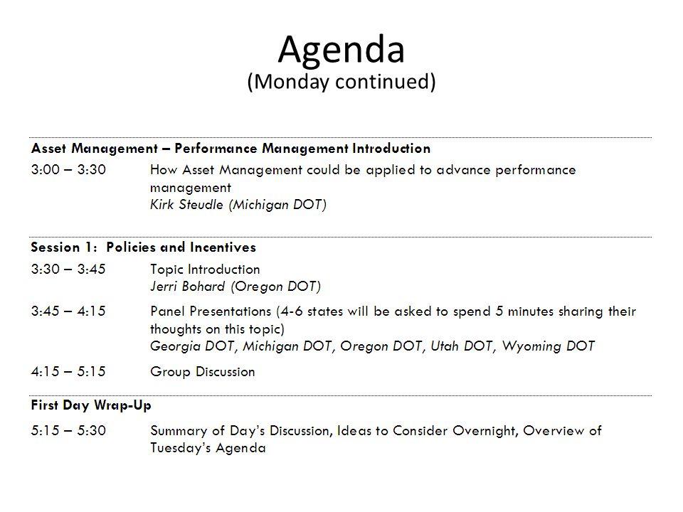 Agenda (Monday continued)