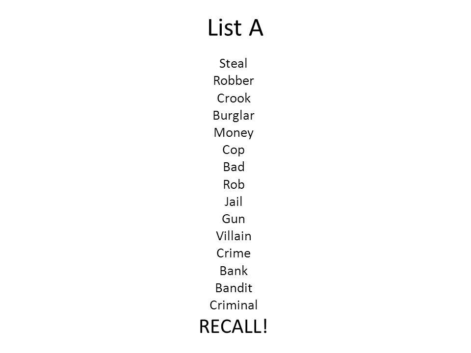 List A Steal Robber Crook Burglar Money Cop Bad Rob Jail Gun Villain Crime Bank Bandit Criminal RECALL!