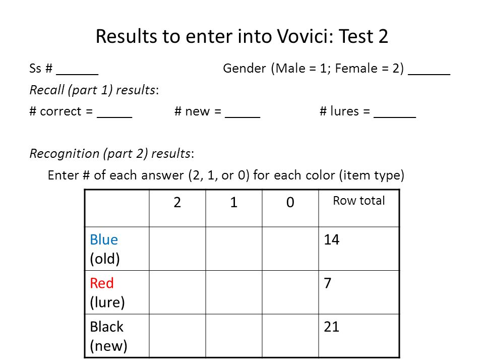 Results to enter into Vovici: Test 2 Ss # ______Gender (Male = 1; Female = 2) ______ Recall (part 1) results: # correct = _____# new = _____ # lures = ______ Recognition (part 2) results: Enter # of each answer (2, 1, or 0) for each color (item type) 210 Row total Blue (old) 14 Red (lure) 7 Black (new) 21
